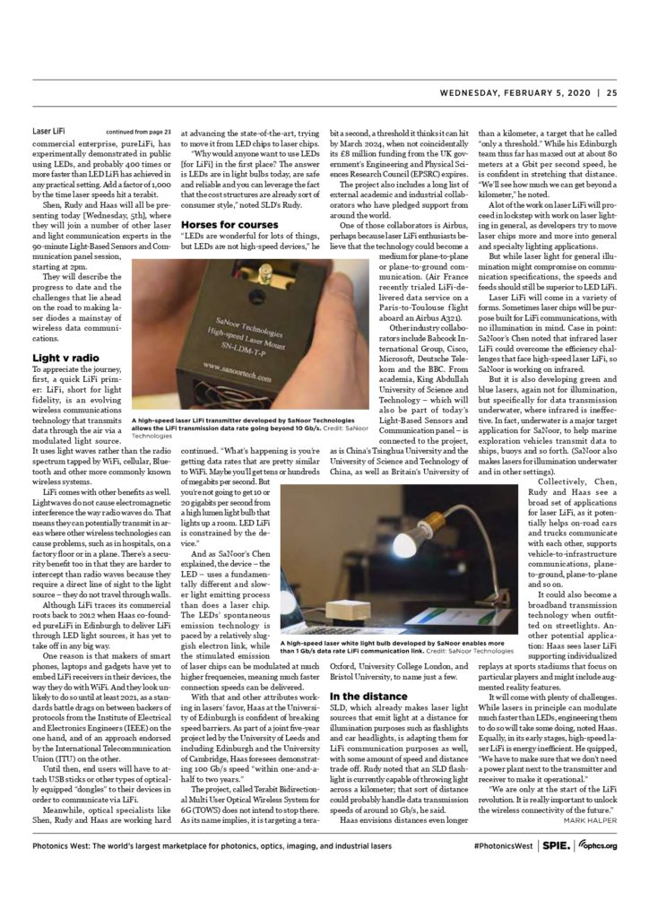 SPIE Feature SaNoor LiFi technology and products
